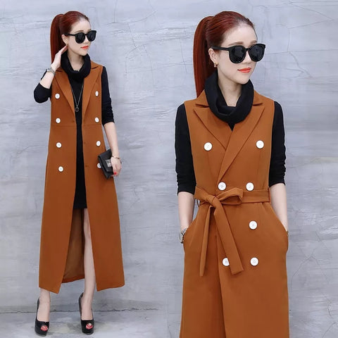 Fashion Fall Spring Women 2 Pieces Set Long Sleeve Cotton Mini Dress and Sleeveless Long Coat Casual Office Lady Dress Suit