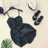 2018 fashion Women Sexy chiffon vintage Dot Spaghetti strap  jumpsuit female playsuits