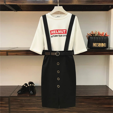 2018 New Spring Fashion Women's Letter Printing Loose T-shirt + Slim Waist Suspender Skirt Two Piece Students Casual Skirt Suits