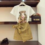 2018 New Fashion Summer Women's Character Printed Beading T-shirt + Retro Bow Short Skirt Two Piece Girls Skirt Suits