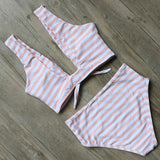 Striped Bikini Set 2018 High Waist Swimwear Women Sexy padded Bikini Push Up Swimsuit with Bowtie Summer Swimming suit beachwear