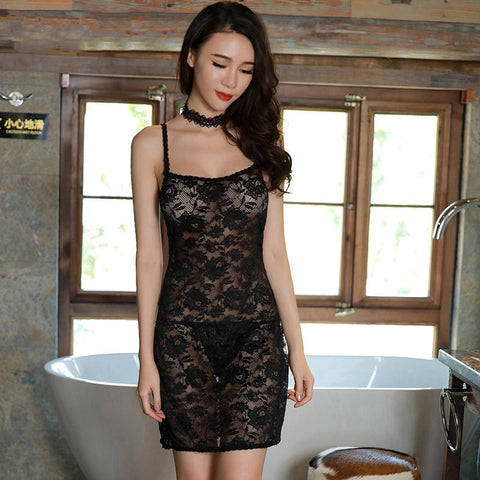 2018 Women Sexy Vintage Lace Sling Nightgown Lady Transparent Bodydoll Mini Dress Sexy Lingerie Green Sleepwear For Women