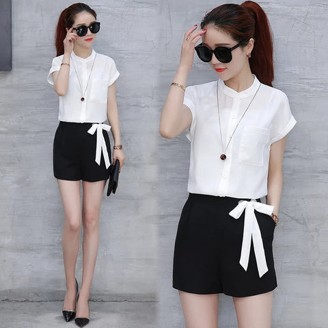 Fashion Summer Women 2 Pieces Set Chiffon Striped Shirt Tops+Bow Bandage Shorts Casual Elegant Female shorts Suit Street