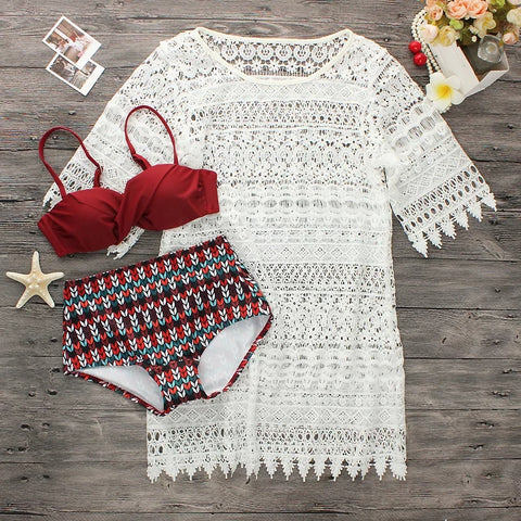 2018 Time-limited New Personality Girl Chest Steel Support Lace Blouse Straight Waist Gather Hollow Three Piece Swimsuit.