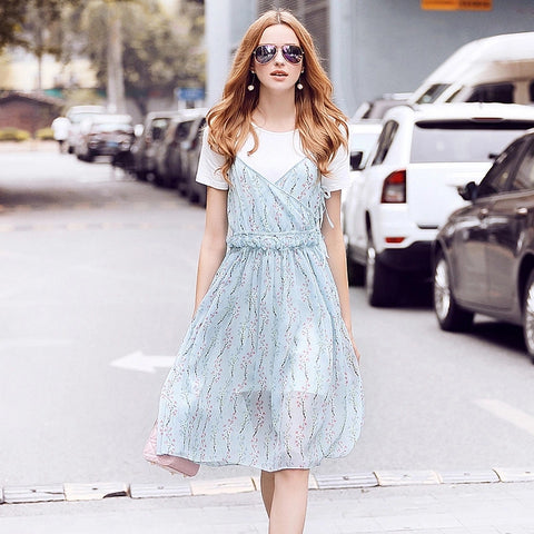 2017 Women Fashion Casual O-neck Short Sleeve Floral Printed Knee-Length Pleated Dress Chiffon Bohemian Beach two piece dress