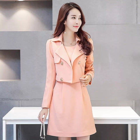 Fashion Fall Women Dress 2 Piece Set Lace Sleeve Elegant Midi Dress with Short Jacket Office Casual Dress Suit Female Vestidos