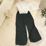 Women Solid color T-shirt+ High-waisted Dot Wide leg pants Two sets