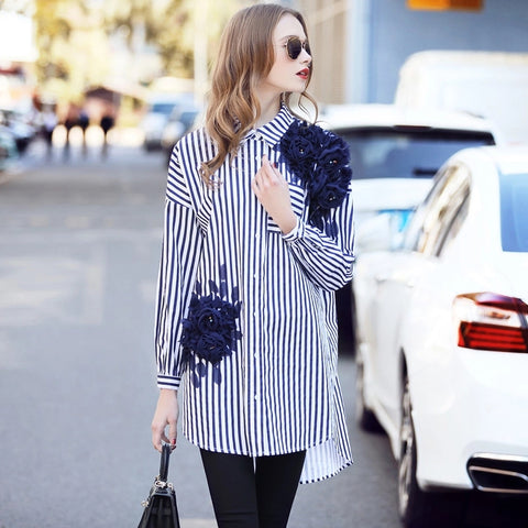 2017 Spring Women Elegant Long Sleeve Floral Appliques Cotton Blouse Ladies White And Blue Striped Office Shirts Work Wear Tops