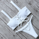 Sexy Bikini Swimsuit Swimwear Women Push Up Bathing Suit Bandeau Top Solid Bikini Set 20178 Female Beachwear With Pad Swim suit