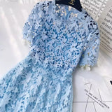 2018 fashion Women Dresses  lotus leaf Slash Neck retro jacquard hollow Elegant long  dress female