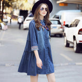 2017 Spring Summer Plus Size  Women Clothing  Turn Down Collar A-line Loose Vintage Casual Women Mini Denim Dress vestido