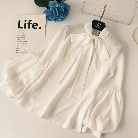 Chiffon Blouse Women Zipper Shirts 2018 Spring Plus Size Bow Tie Blouse Lantern Sleeve Shirt Female Streetwear Chic Blusas Tops