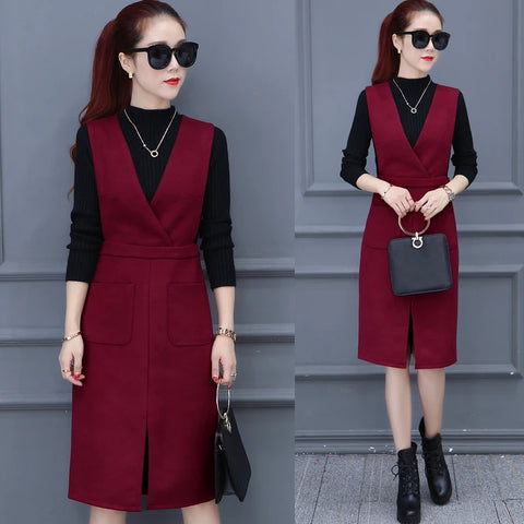 Fashion Fall Women 2 Pieces Set Long Sleeve Turtleneck Knitted Blouse Tops+Woolens Skirt Elegant Office Lady Suit Plus Size 3XL