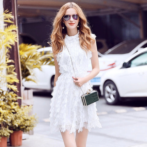 Women Sexy Elegant White/Black Lace Summer Dress 2017 Stand Collar Sleeveless A-line Slim Mini Party Dress Vestidos