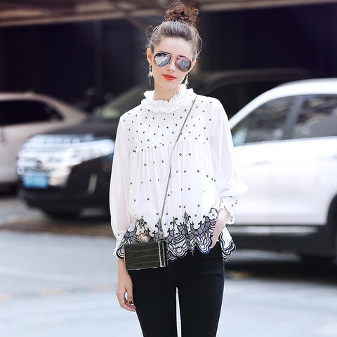 2018 Spring Vintage Elegant Chiffon Blouse Women Ruffles Long Sleeve Floral Embroidery Blouses and Tops blusa feminina