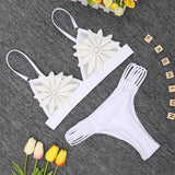 Women Floral Embroidery Applique Bikini Sexy Bra Cut Out Briefs Solid Two Piece Bikini Swimsuit