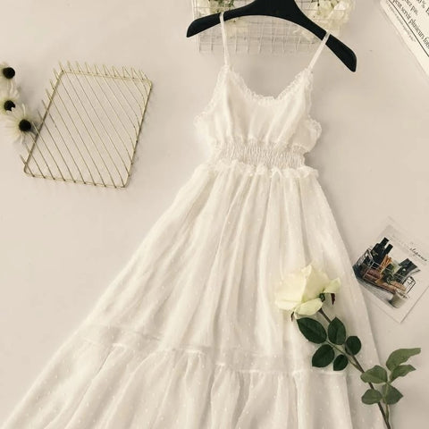 Ruffles Dress Women S-M Soild Long Elastic V-Neck Dress Female Chiffon Vestido Dress Fashion Beach Summer Preppy Style Dress