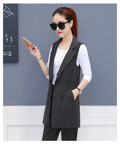 3 Piece Set Ladies Trouser Suit New Fall Spring Fashion Sleeveless Vest+White shirt+Pencil Pants Elegant Office Female Pants Se