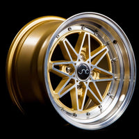 JNC002 | Gold Machined Face | 15x8 | 4x100 | +25mm | CB: 73.1