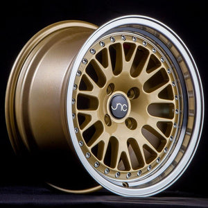 JNC001 | Gold Machined Lip | 17x9 | 4x100/4x114.3 | +20mm | CB: 73.1