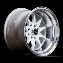 JNC003 | White Machined Lip | 15x9 | 4x100/4x114.3 | +0mm | CB: 73.1