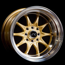JNC003 | Gold Machined Lip | 15x9 | 4x100/4x114.3 | +0mm | CB: 73.1