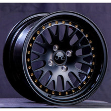 JNC001 | Matte Black w/ Gold Rivets | 17x9 | 5x100/5x114.3 | +20mm | CB: 73.1