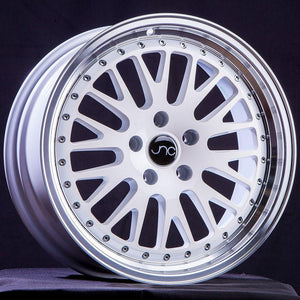 JNC001 | White Machined Lip | 15x8 | 4x100 | +0mm | CB: 73.1