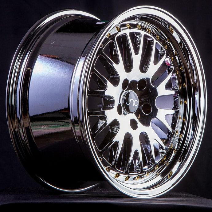JNC001 | Platinum Gold Rivets | 16x8 | 4x100/4x114.3 | +25mm | CB: 73.1