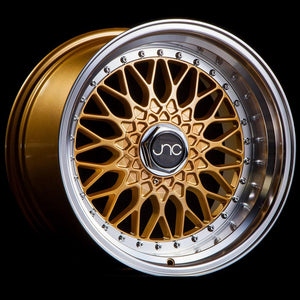 JNC004 | Gold Machined Lip with Chrome Rivets | 16x8 | 4x100/4x114.3 | +20mm | CB: 73.1