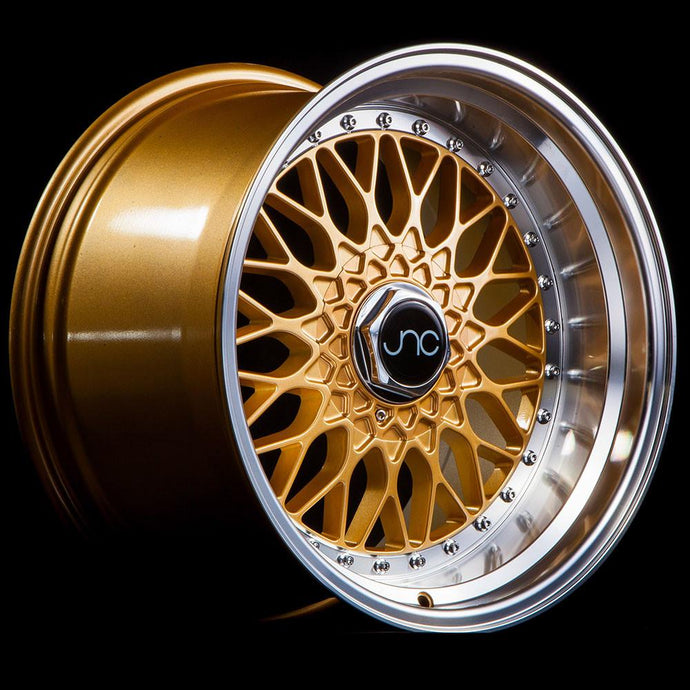 JNC004 | Gold Machined Lip with Chrome Rivets | 16x8 | 5x100/5x114.3 | +25mm | CB: 73.1