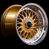 JNC004 | Gold Machined Lip with Chrome Rivets | 15x8 | 5x100/5x114.3 | +20mm | CB: 73.1