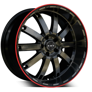HD Wheels HD Wheels Autobahn 20 x 10.0 / 5 x 114.3 (et25mm) / Gloss Black Polished Tinted w Redline HD Wheels Autobahn Redline - Closeout