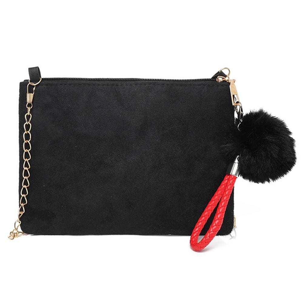 4c65c387b Load image into Gallery viewer, Suede Cross Body Bag With Fluffy Accessory  - Totally Bags ...