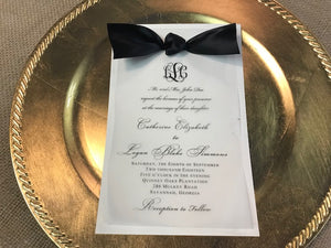 Wedding Invitation with backer, vellum and ribbon