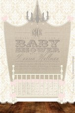 Baby Crib and Chandelier