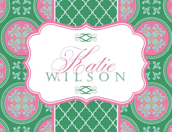 Pink and Green Medallion Notecards