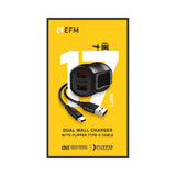 EFM Dual USB Rapid Wall Charger 3.4A - With Type C Cable