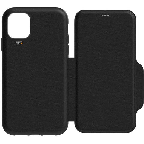 EFM Monaco D3O Leather Wallet Case Armour - For iPhone 11 Pro Max - Black / Space Grey