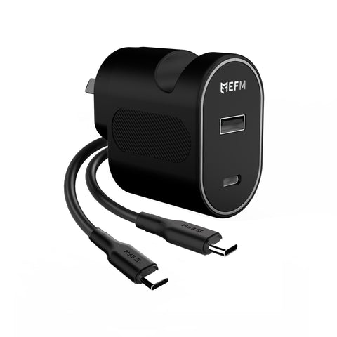 EFM 30W Dual Port Wall Charger - With Type C to Type C Cable 1M