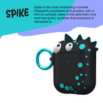 Case-Mate CreaturePod Case for Air Pods - With Neck Strap - Spike Harmless Case (Black)