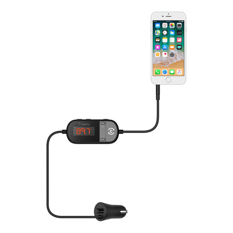 Belkin TuneCast In-Car 3.5mm to FM Transmitter - With ClearScan and USB charging - Black