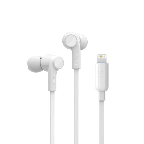 Belkin Rockstar Headphones with Lightning Connector - For Apple Devices - White