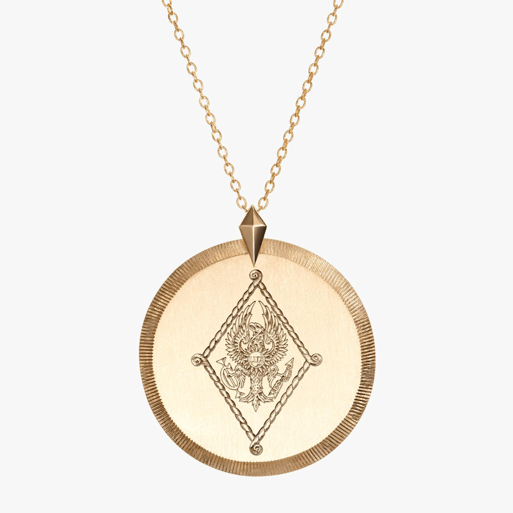 Gold Pi Beta Phi Florentine Crest Necklace