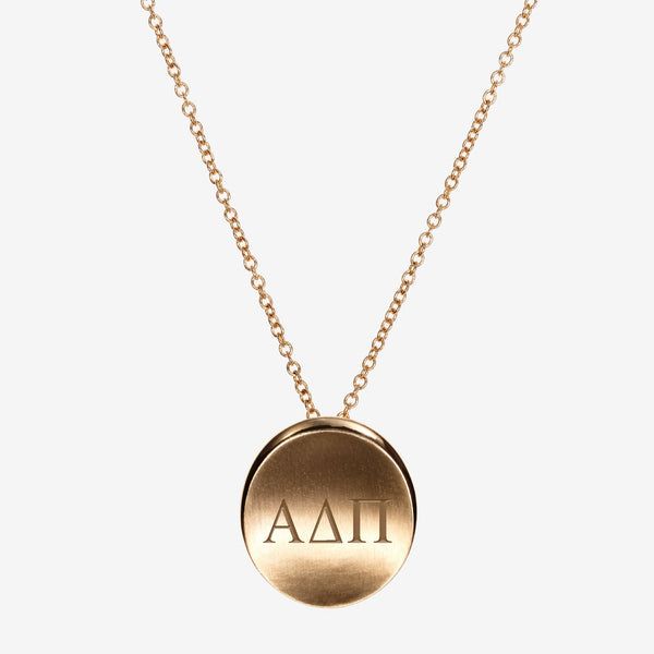 Gold Alpha Delta Pi Organic Letters Necklace
