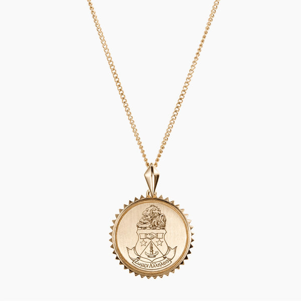 Gold Alpha Delta Pi Sunburst Crest Necklace