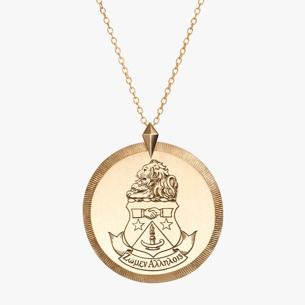 Gold Alpha Delta Pi Florentine Crest Necklace
