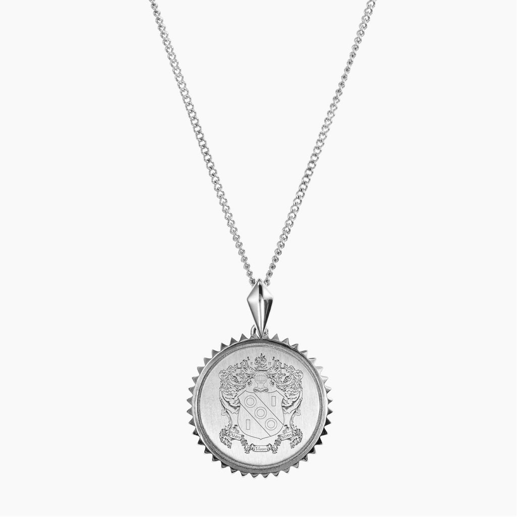 Silver Alpha Gamma Delta Sunburst Crest Necklace