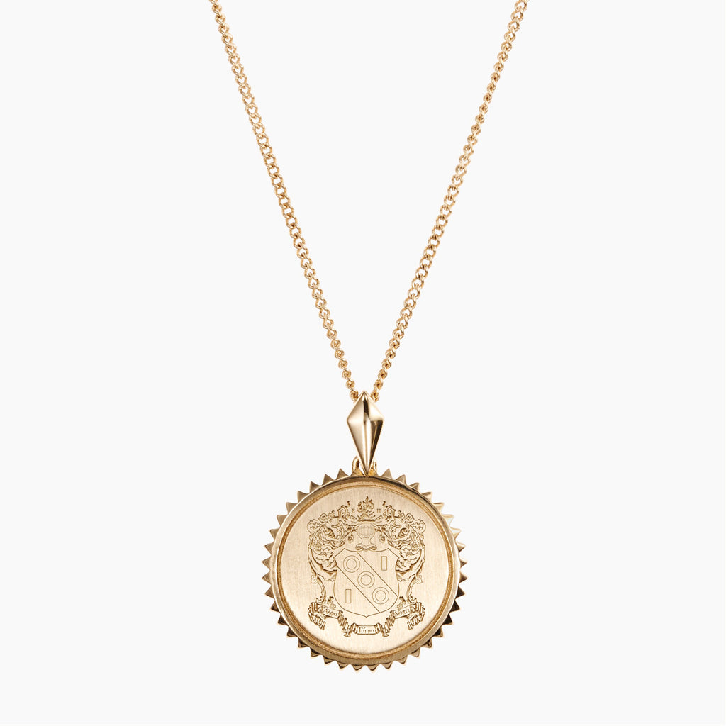 Gold Alpha Gamma Delta Sunburst Crest Necklace
