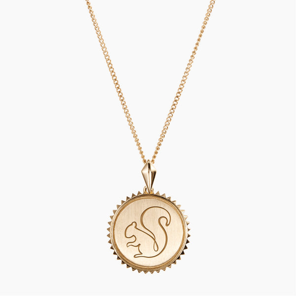 Gold Alpha Gamma Delta Sunburst Squirrel Necklace